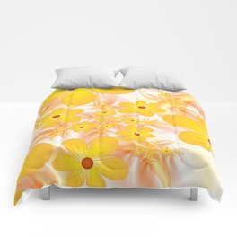Yellow Flowers, Fractals Art Comforters