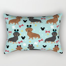 Dachshund theme park dog - black and tan and red doxies Rectangular Pillow