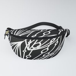 White molecular helix with diagonal circles on a black background. Fanny Pack