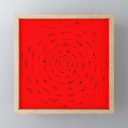 Minimalist Spring Floral Cyclone (Black on Red) Framed Mini Art Print