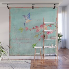 My favorite weather - Romantic Birds Cherryblossoms and Spring Typography on teal Wall Mural