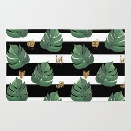 Tropical leaves pattern on stripes background Rug