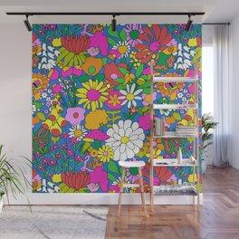 60's Groovy Garden in Blue Wall Mural
