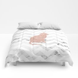 Modern rose gold glitter cat on white marble chevron pattern Comforters