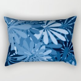 In The Tropics SKY BLUE - navy blue - and mid blue in a graphic display of color Rectangular Pillow
