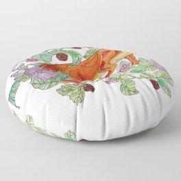 Fox in the flowers Floor Pillow
