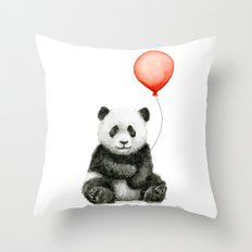 Panda and Red Balloon Baby Animals Watercolor Throw Pillow