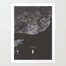 Lisbon City Map I Art Print