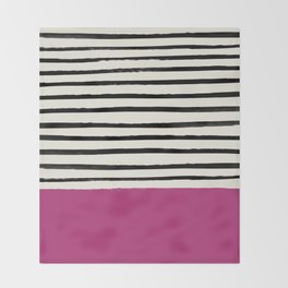 Raspberry x Stripes Throw Blanket