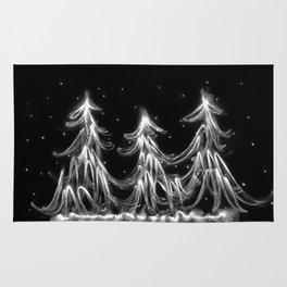 White Christmas Snow and Christmas Tree light painting Rug