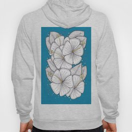Zentangle Blue and Gold Hibiscus Blossoms for Flower Lovers Hoody