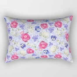 Rose Ranunculus Pansy Flowers over Pale Blue Rectangular Pillow