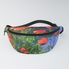 Poppies at the pond Fanny Pack