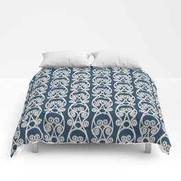 Crackled Scrolled Ikat Pattern - Navy Cream Comforters