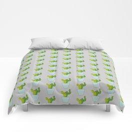 Blooming Cactus   Light Gray Comforters