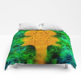 Camel Man (psychedelic, op art, halftone, abstract) Comforters