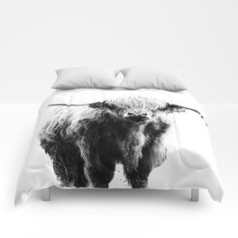Newspaper Print Style Highland Cow. Scotland, Bull, Horns. Comforters