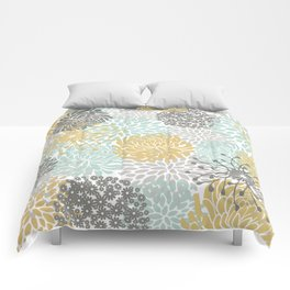 Floral Abstract Print, Yellow, Gray, Aqua Comforters