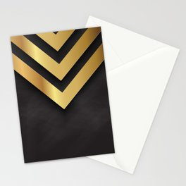 Back and gold geometric design Stationery Cards