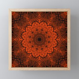 Black and orange kaleidoscope Framed Mini Art Print