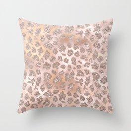 Rosegold Blush Leopard Glitter   Throw Pillow