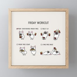 Friday Workout with French Bulldog Framed Mini Art Print