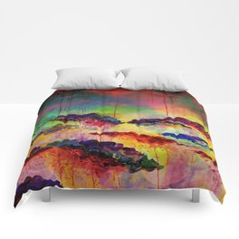 IT'S A ROSE COLORED LIFE 4 - Deep Red Colorful Floral Garden Abstract Crimson Green Painting Comforters