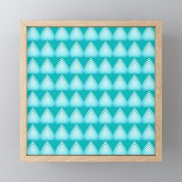 Pattern of white hearts and azure flowers on a blue background. Framed Mini Art Print
