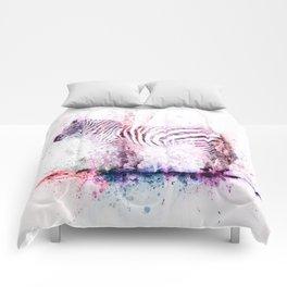 Watercolor Wash Zebra Comforters