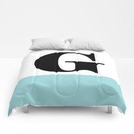 Monogram Letter G-Pantone-Limpet Shell Comforters