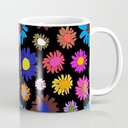 60's Daisy Crazy in Black Coffee Mug