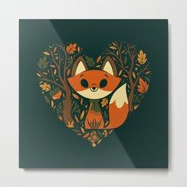 Foxy Heart Metal Print