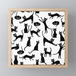 Black cats, seamless patten Framed Mini Art Print