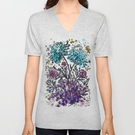 Purple floral watercolor abstraction Unisex V-Neck