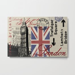 London Great Britain Big Ben Flag Collage Metal Print