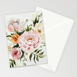 Loose Peonies & Poppies Floral Bouquet Stationery Cards