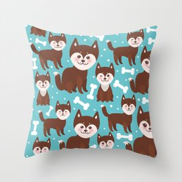 funny brown husky dog and white bones, Kawaii face with large eyes and pink cheeks blue background Throw Pillow