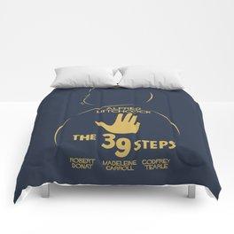 The 39 steps, Alfred Hitchcock, minimal movie poster, english film, b&w alternative affiche, cinema Comforters
