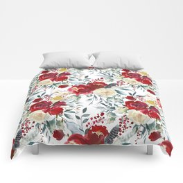 Elegant burgundy pink teal gray watercolor holly leaves floral Comforters