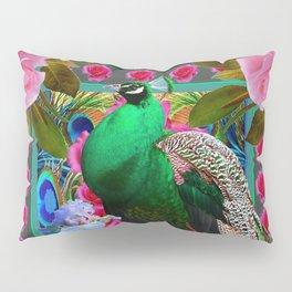 PINK ROSES & GREEN PEACOCK GARDEN FLORAL ART Pillow Sham