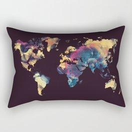world map 79 yellow black Rectangular Pillow