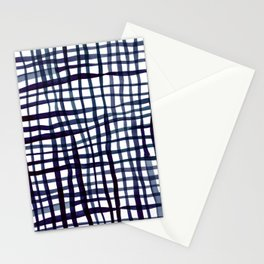 Watercolor doodle gingham - indigo Stationery Cards