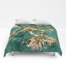 Macelas - Small flowers digitally stylized green marble Comforters