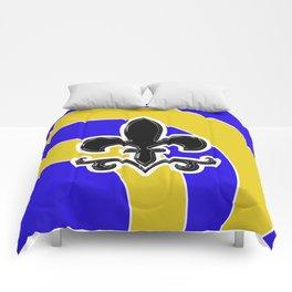 Fleur de Lis Blue & Gold Comforters