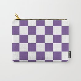 Checkered - White and Dark Lavender Violet Carry-All Pouch