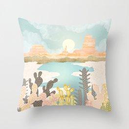 Retro Desert Oasis Throw Pillow