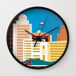 San Antonio, Texas - Skyline Illustration by Loose Petals Wall Clock