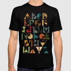 geometric alphabet v1 Black MEDIUM Mens Fitted Tee