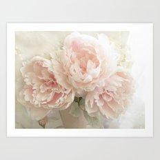 Shabby Chic Cottage Pastel Pink Peony Prints and Peony Home Decor Art Print