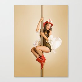 """Four-Alarm Flirt"" - The Playful Pinup - Firefighter Girl Pin-up by Maxwell H. Johnson Canvas Print"